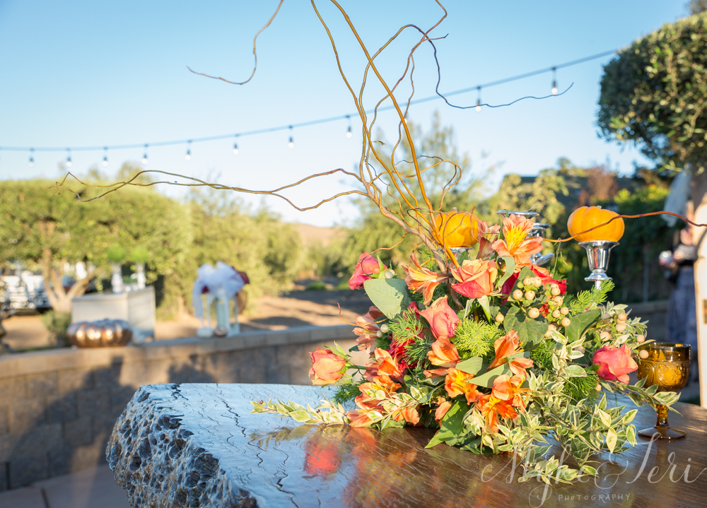 orange red fall flowers wedding