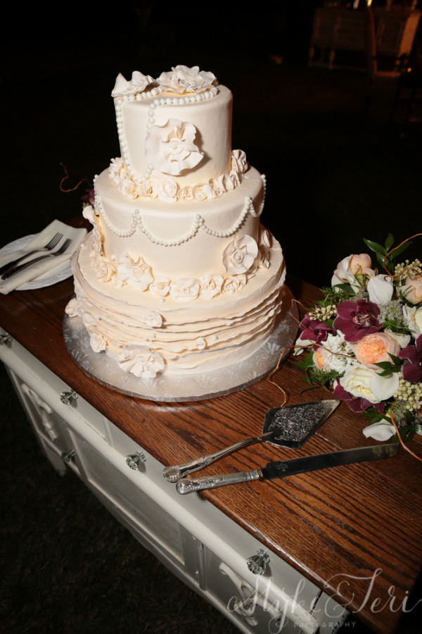 wedding cake ruffles and lace