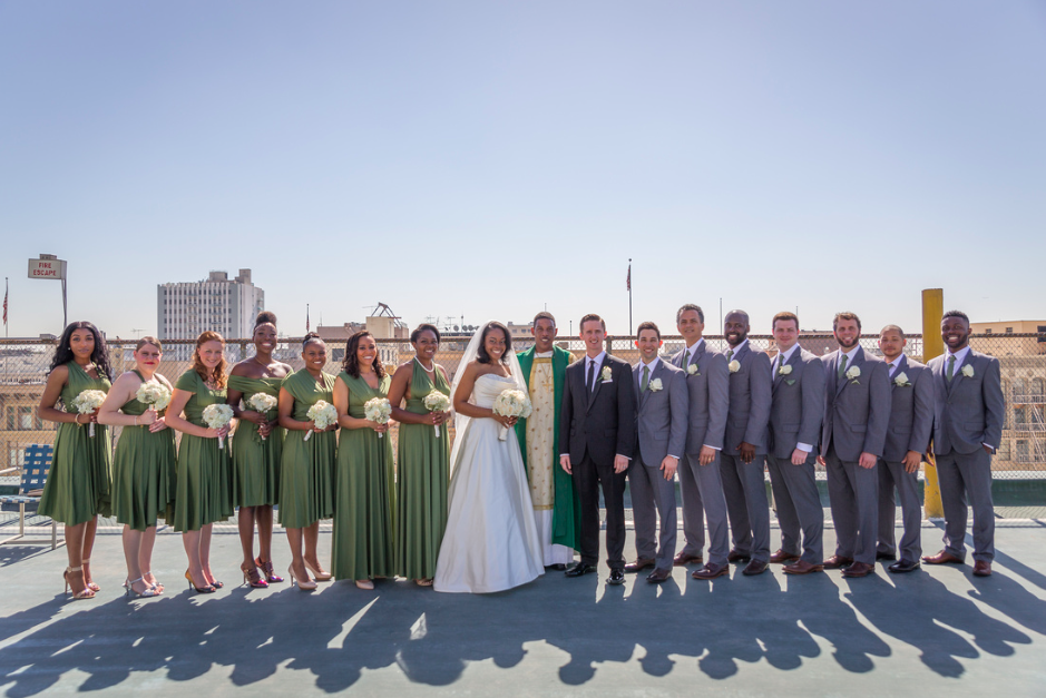 bridal party green rooftop photo