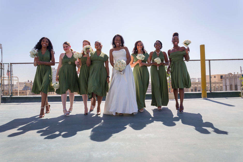 rooftop city bridal party