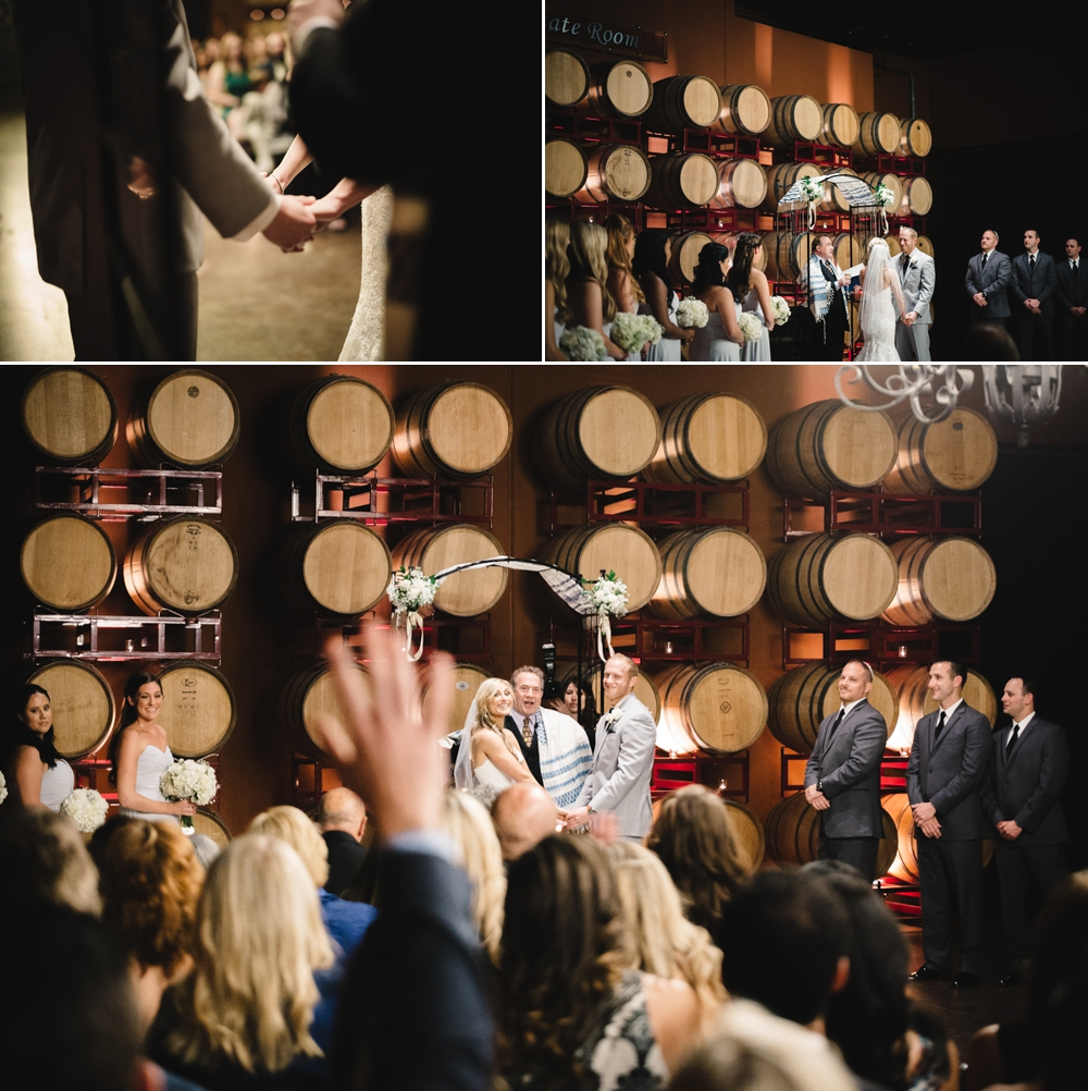 Palm Event Center Vineyard Wedding Indoor Barrel Room SF Photographers Myke Teri 27